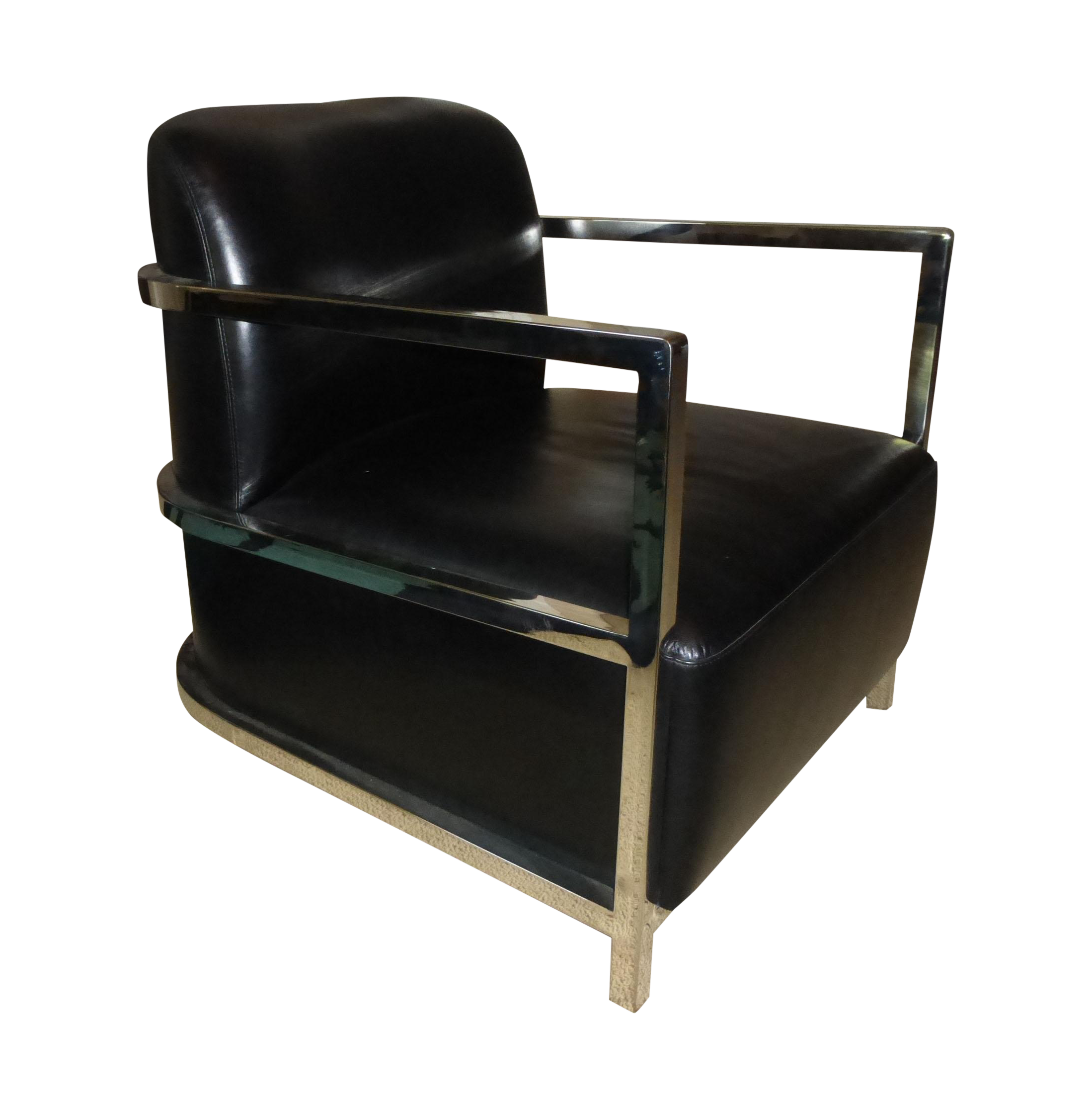 Attirant Le Corbusier Style Chrome U0026 Black Leather Chair For Sale