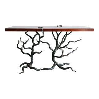 Wright Table Company Faux Bois Wood and Iron Tree Console Table For Sale