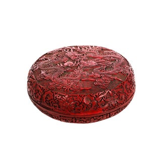 Antique Chinese Carved Cinnabar Round Lidded Box For Sale