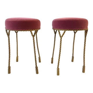 Vintage Hollywood Regency Gilt Tassel Rope Stools- A Pair For Sale