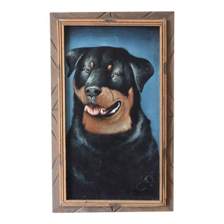 Vintage Mid-Century Velvet Dog Painting For Sale