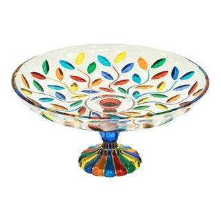 Colleoni Modern Crystal Murano Glass Colorful Leaves Compote Dish / Tazza For Sale
