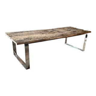 Industrial Timothy Oulton Reclaimed Wood and Metal Dining Table For Sale