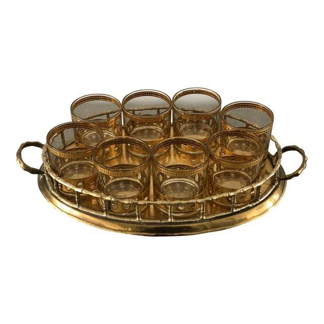 Anitigua 22k Culver Old Fashioned Cocktail Glasses With Vintage Brass Tray - Set of 9 For Sale