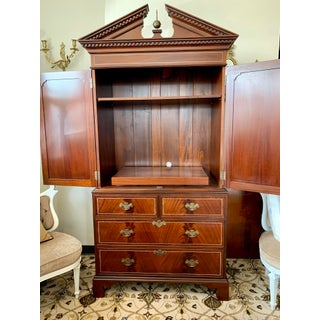 1990s Vintage Federal Style Mahogany Armoire Wardrobe Cabinet Preview