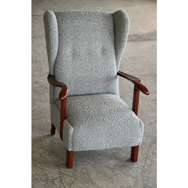 Fritz Hansen Fritz Hansen Model 1582 Wingback Lounge Chair in Grey Boucle Danish Midcentury For Sale - Image 4 of 13