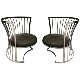 Pair of Satin Nickel Lounge Chairs by Russell Woodard For Sale