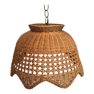 1960s Wicker Pendant Lamp With Globe and Swag Chain For Sale