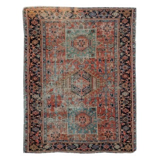 """Antique Persian Karaja Red and Blue Rug Late 19th Century - 4'9"""" X 6'3"""" For Sale"""