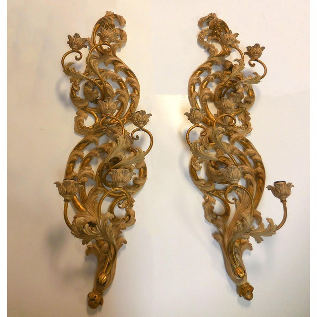 Italian Gilt Carved Wood Wall Sconces - A Pair - Image 9 of 9