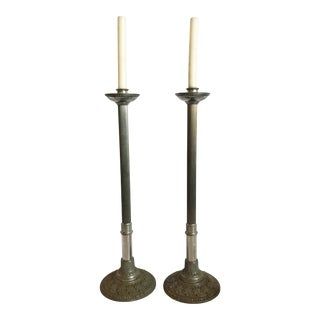 """37"""" Tall Vintage Early 20th Century Pewter Alter Church Candleabra - a Pair For Sale"""