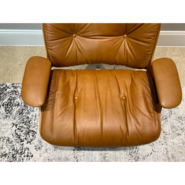 Brown Vintage Mid Century Selig Manufacturing Company Chair & Ottoman For Sale - Image 8 of 13