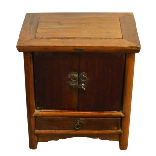 Antique Brown Lacquer Bedside Cabinet With Brass Hardware, 19th Century China For Sale