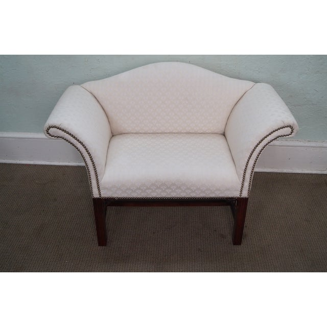 """High-quality, American-made, upholstered bench with a solid mahogany. Unsigned maker, possibly """"Baker."""" AGE/COUNTRY OF..."""