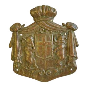 Antique English Bronze Heraldry Shield with Elephants Wall Plaque
