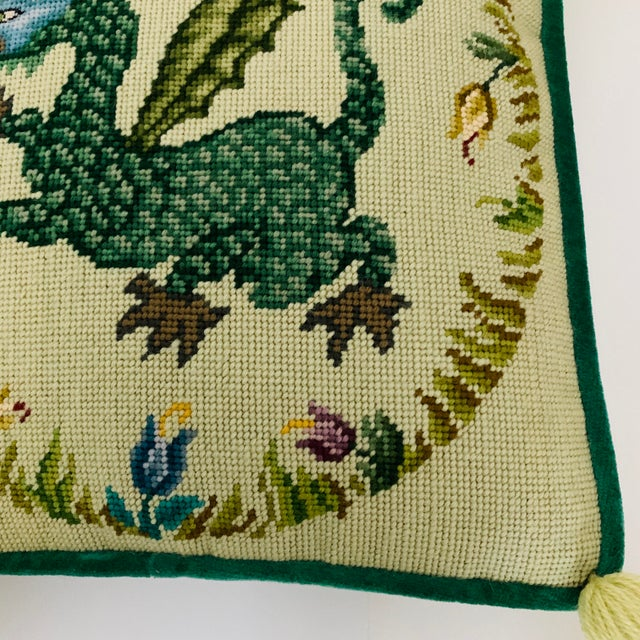Vintage Ca 1950s Winged Dragon Floral Boxed Needlepoint Pillow With Tassels For Sale In Miami - Image 6 of 11