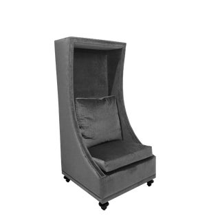 Bradley Giselle Gray Velvet Hooded Chair