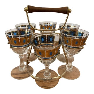 Fred Press Signed Mid-Century 7-Piece Sherry/Cordial Set For Sale
