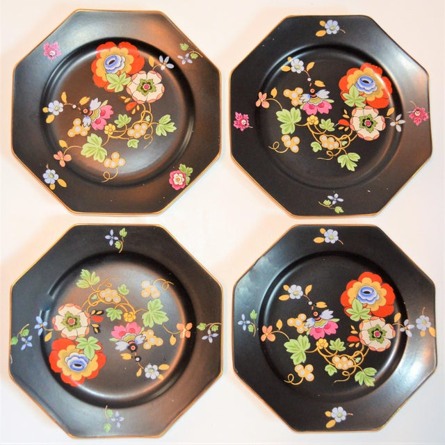 1920s Antique Art Deco Black and Floral Plates - Set of 4 For Sale - Image 10 of 12