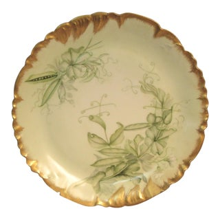 Limoges Green Peapods & Florals Scalloped Gold Border Charger Plate For Sale