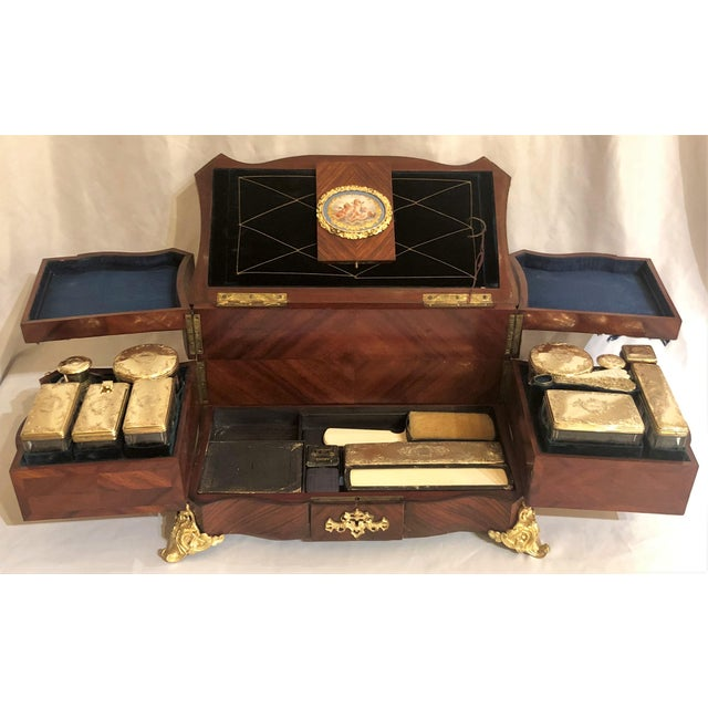 Late 19th Century Museum Quality Antique French Napoleon III Sevres Mounted Kingswood and Ormolu Traveling Box Made by Ebeniste, Alphonse Giroux. For Sale - Image 5 of 8