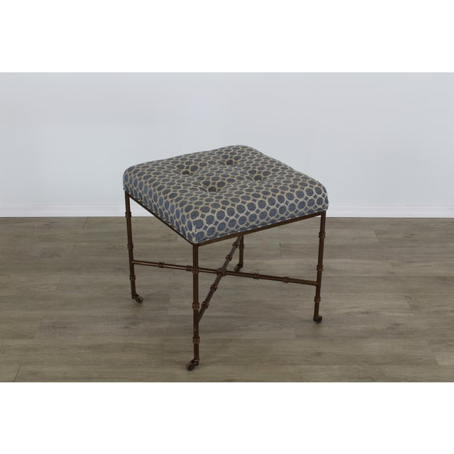 Pair of Mid-Century Metal Benches With Blue Cushions Tops For Sale In Miami - Image 6 of 8
