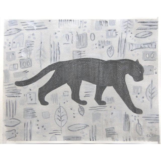 Mid-Century Modern Panther Mid Century Modern Style Painting by Cleo Plowden For Sale - Image 3 of 4