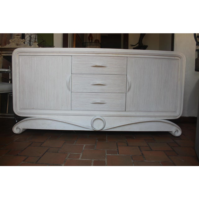 White Vintage Pencil Reed & Tessellated Stone Sideboard For Sale - Image 8 of 12