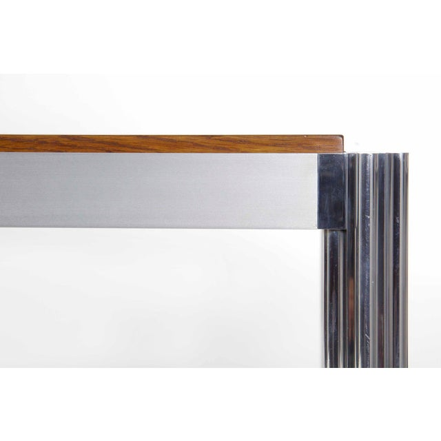 Aluminum Rare Circa 1960s Jens Risom Oak and Aluminum Dining Table with Shamrock Legs For Sale - Image 7 of 13