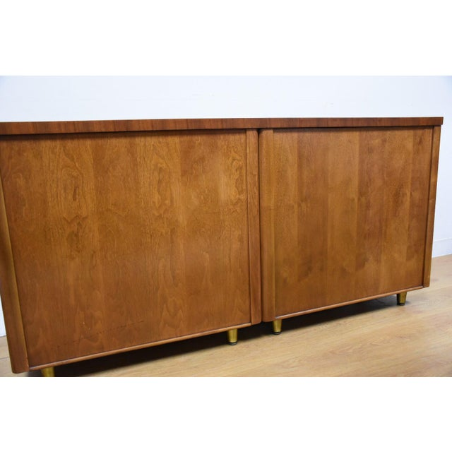 Walnut and Brass Tv Console Credenza - Image 11 of 11