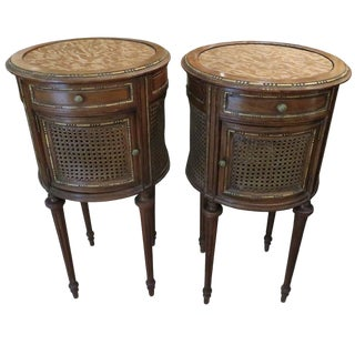 19th Century Louis XVI Style Parcel-Gilt Nightstands - a Pair For Sale