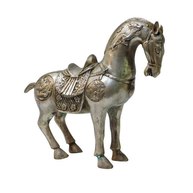 Detail Handmade Metal Silver Color Chinese Ancient Warrior Horse Figure - Image 3 of 6