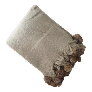 Fur Trim Mohair Beige Throw Blanket For Sale