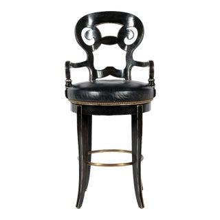 Black Century Leather Upholstered Bar Stool For Sale