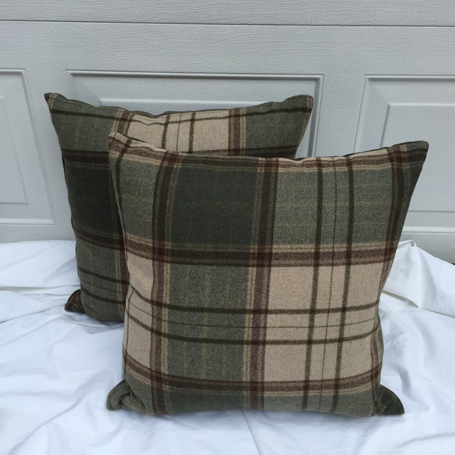 Scottish Wool Plaid Pillows - A Pair - Image 3 of 5