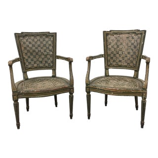 Pair of 19th C Venetian Painted Cane Arm Chairs - For Sale