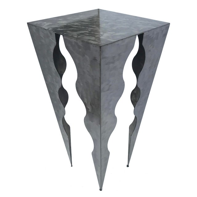 20th Century Abstract Wave Design Tall Metal Side Table For Sale - Image 4 of 4