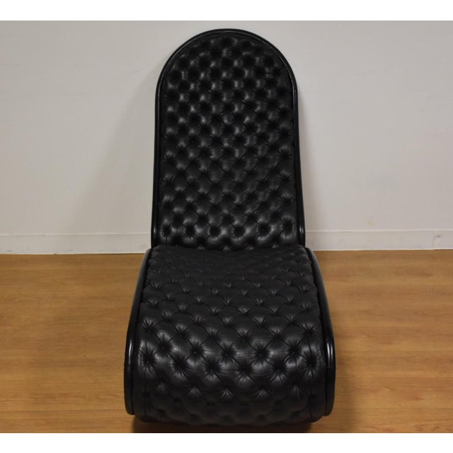 Modern Verner Panton Black Leather Chaise Lounge For Sale - Image 3 of 11