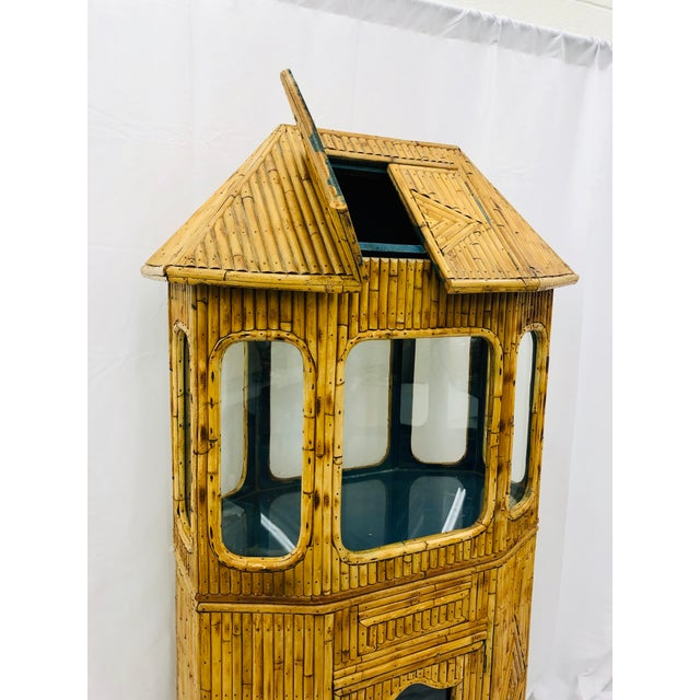 Early 20th Century Antique Split Bamboo Curiosity Cabinet Display Case For Sale - Image 5 of 8