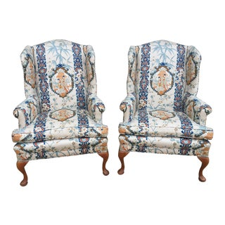 Chinoiserie Wingback Chairs - A Pair
