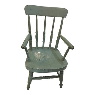 Small Aqua Painted Child's Wood Spindle Back Chair For Sale
