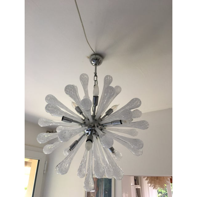 Metal White & Transparent Murano Glass Sputnik Chandelier For Sale - Image 7 of 7
