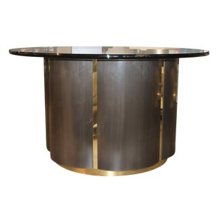 Brushed Steel and Brass Clover Shaped Table For Sale