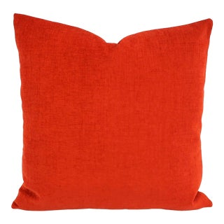 """Arc Com Fabric Spirit in Watermelon Pillow Cover - 20"""" X 20"""" Solid Bright Red Chenille Cushion Case For Sale"""