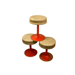 1960s Mid-Century Modern Metal Swivel Leather Bar Stools - Set of 3