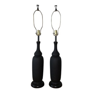 Mid 20th Century Black Ceramic Lamps - a Pair For Sale