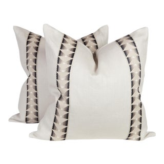 Ivory Linen Aztec Tape Pillows, a Pair For Sale