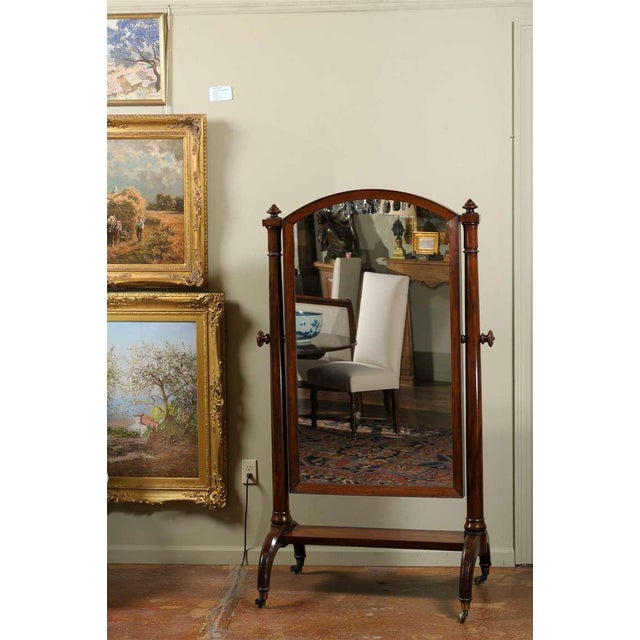 Traditional Scottish 1820s Mahogany Free Standing Tilting Cheval Mirror with Crescent Legs For Sale - Image 3 of 11