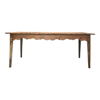 Antique Country French Scalloped Apron Farm Table From Provence For Sale