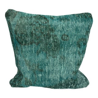 Turquoise Turkish Oushak Floral Designer Modern Sofa Rug Pillow Cover For Sale